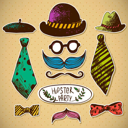 Hand Drawn Hipster Design Elements in Vintage style Vector