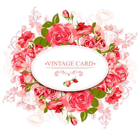 Vintage Floral Card with Roses Design Element. Roses background, invitation Vector