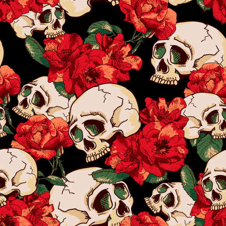 day of the dead: Cr�neo y flores de fondo sin fisuras D�a de Todos los Santos, la tarjeta del vintage