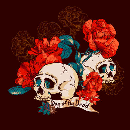 Skull and Flowers Day of The Dead Design element, Vintage Card Vector