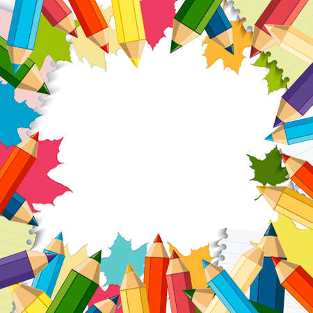 Back to School Vector Design element, School Autumn Background Illustration