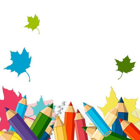 vector school: Back to School Vector Design element, School Autumn Background Illustration