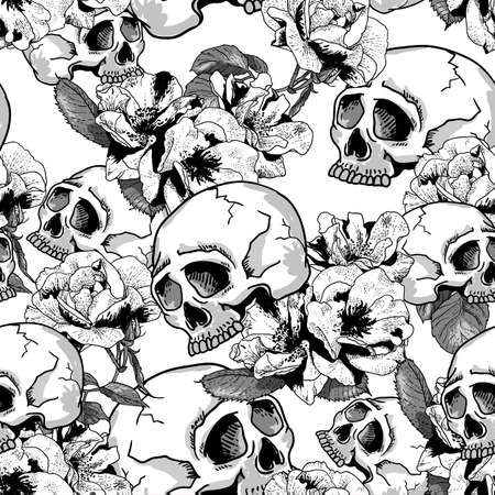 Skull and Flowers Seamless Background Day of The Dead, Vector Vintage Card