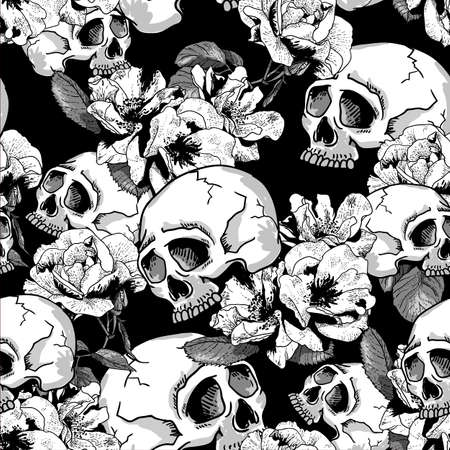 horrors: Skull and Flowers Seamless Background Day of The Dead, Vector Vintage Card
