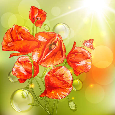 remembrance day: Bunch of Beautiful Red Poppy illustration Vintage Invitation Floral Card Design with Poppy.