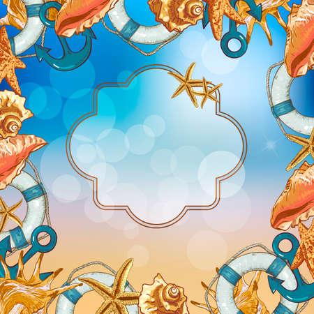 lifeline: Summer Card with Sea Shells, Anchor, Lifeline on Sunny Background