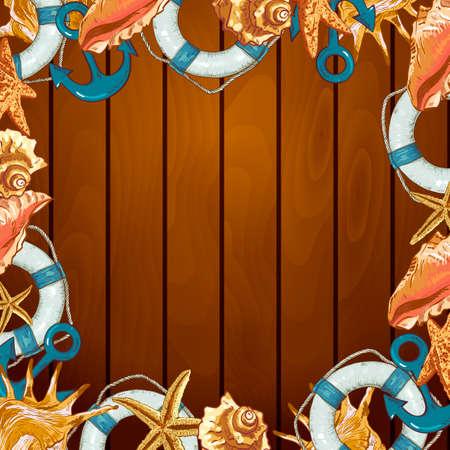 lifeline: Summer Card with Sea Shells, Anchor, Lifeline on Wood Background Illustration