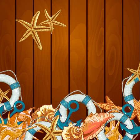 lifeline: Summer Card with Sea Shells, Anchor, Lifeline