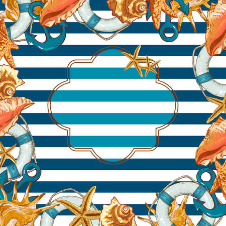anchor background: Summer Card with Sea Shells, Anchor, Lifeline