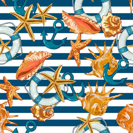 Summer Seamless Pattern with Sea Shells, Anchor Vector