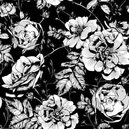 rosas negras: Fondo floral blanco y negro sin fisuras