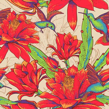 シームレスな背景の花とハチドリ