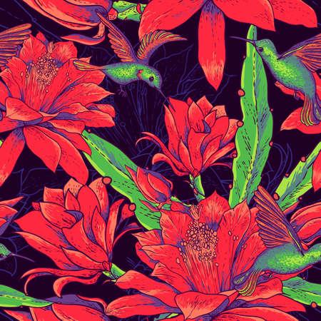 colibries: Seamless flores y colibríes de fondo