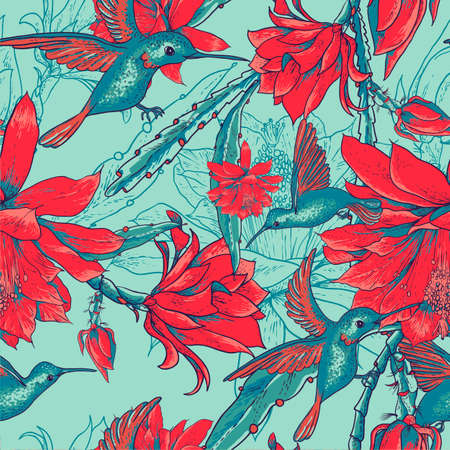 ruby throated: Seamless background flowers and hummingbirds