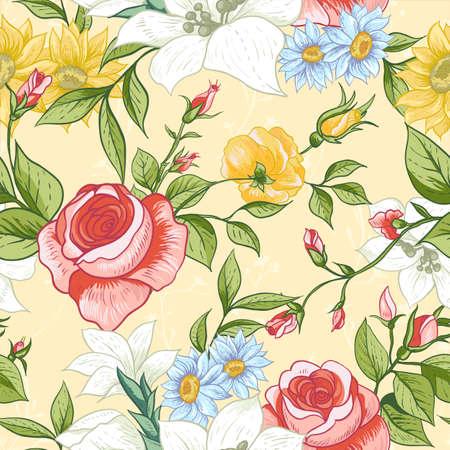 Naadloze patroon met vintage Wildflowers