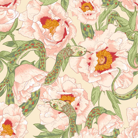 Tropical seamless flower background with snakes Vector