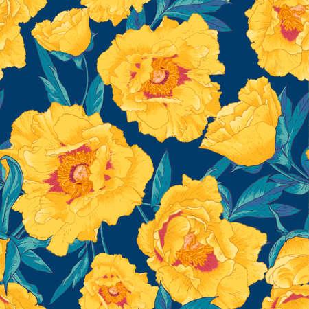 黄色い花を持つ熱帯のシームレスなパターン