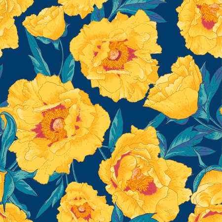 Tropical seamless pattern with yellow flowers