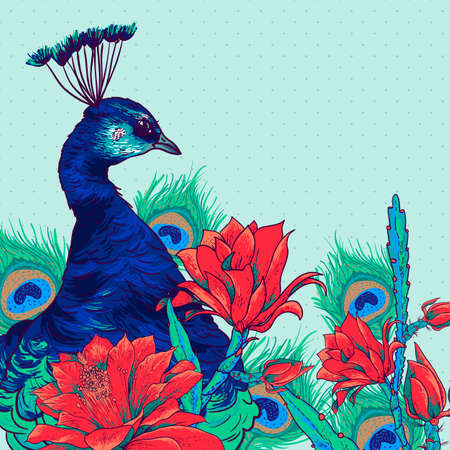 tropical garden: Floral Vintage Card with Peacock Illustration