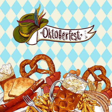 bavarian girl: Oktoberfest celebration design with beer