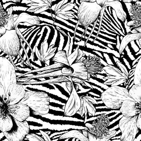 Monochrome seamless vintage flower pattern