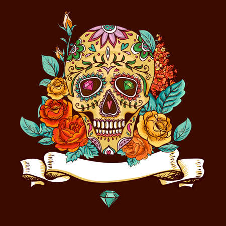 Skull and Flowers Day of The Dead 일러스트