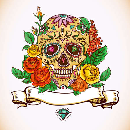 calavera: Skull and Flowers Day of The Dead Illustration