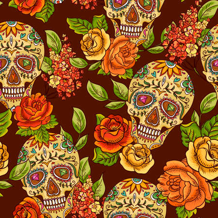 gothic: Skull, diamond and Flowers Seamless Background