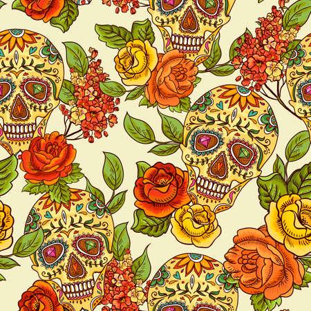 morte: Cr�nio, diamante e flores fundo sem emenda Ilustração
