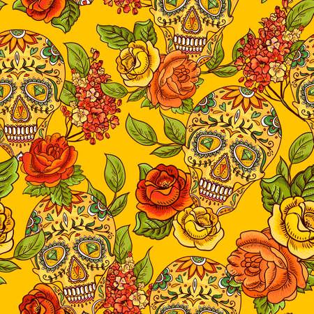 Skull, diamond and Flowers Seamless Background Vector