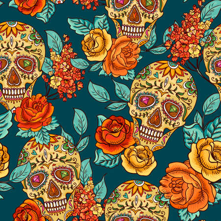 mexican: Skull, diamond and Flowers Seamless Background