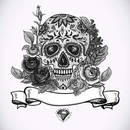 morto: Monochrome Crânio, diamante e flores Dia do cartão do vintage Morto, ilustração vetorial