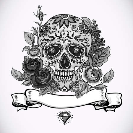 Monochrome Skull, diamond  and Flowers Day of The Dead Vintage Card, Vector illustration Vector