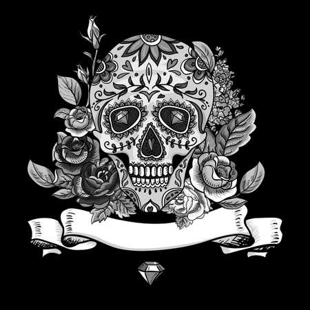 dead flowers: Monochrome Skull, diamond  and Flowers Day of The Dead Vintage Card, Vector illustration