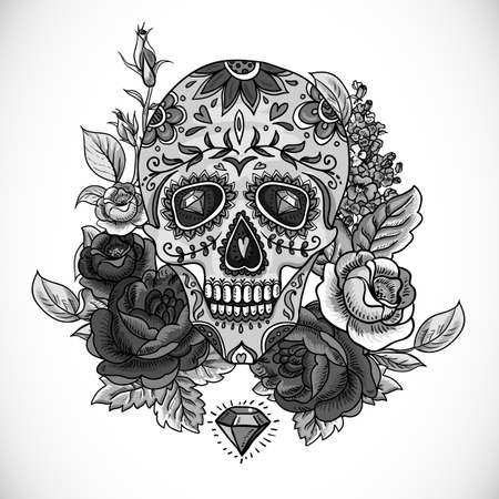 calavera: Monochrome Skull, diamond  and Flowers Day of The Dead Vintage Card, Vector illustration