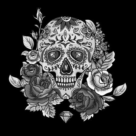deaths head: Monochrome Skull, diamond  and Flowers Day of The Dead Vintage Card, Vector illustration