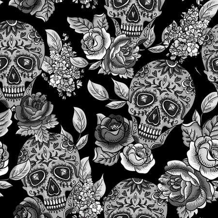 skull tattoo: Schedel en bloemen Monochroom Naadloze Achtergrond Stock Illustratie