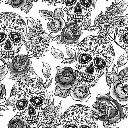 Schedel en Bloemen Monochroom Naadloze Achtergrond