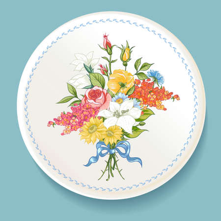 Baroque Bouquet of wildflowers on white plate Иллюстрация
