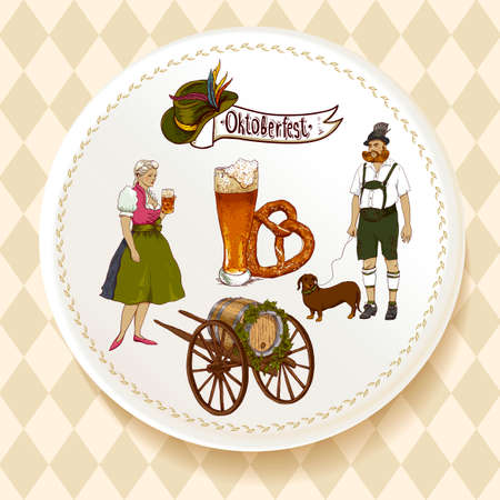bavarian girl: Oktoberfest Beer Set on a white plate