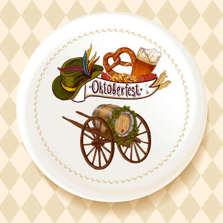 bavarian girl: Oktoberfest Beer Set on a white plate Vector illustration