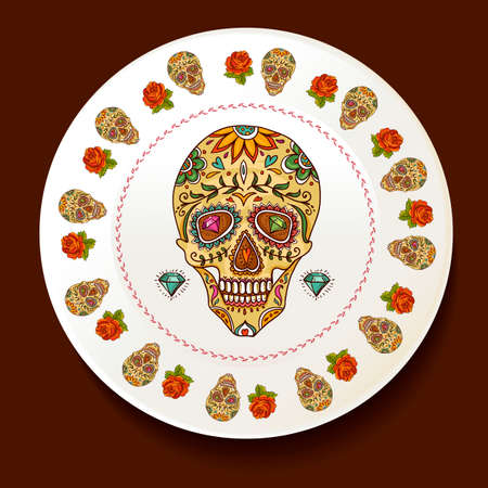 Skull and Flowers on a white plate Day of The Dead Vector illustration Vector