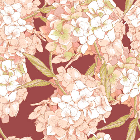 bavarian girl: Beautiful Pink Hydrangea Seamless Background