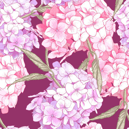 Beautiful Pink Hydrangea Seamless Background Vector