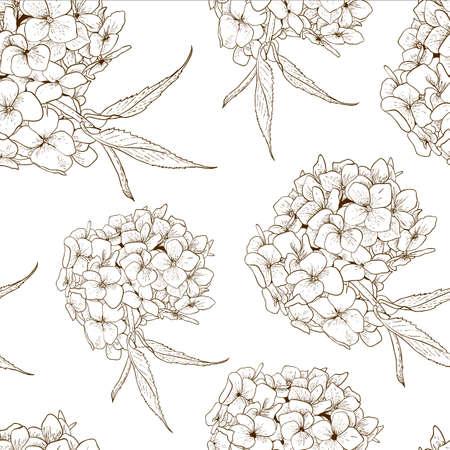 hydrangea: Monochrome Seamless Background with Hydrangea