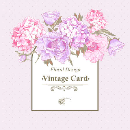 flora: Vintage Greeting Card with Hydrangea and Peonies Illustration