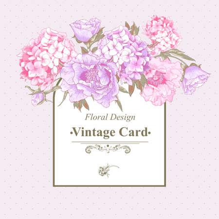 Vintage-Grußkarte mit Pfingstrosen und Hortensien Standard-Bild - 31086780