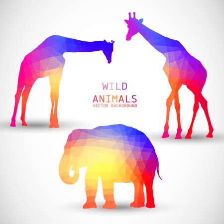 siluetas de animales: Siluetas geom�tricas animales jirafa del elefante Vectores