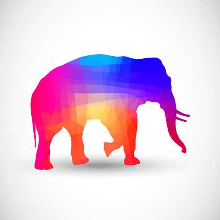 siluetas de animales: Siluetas geom�tricas animales Elefante Vectores