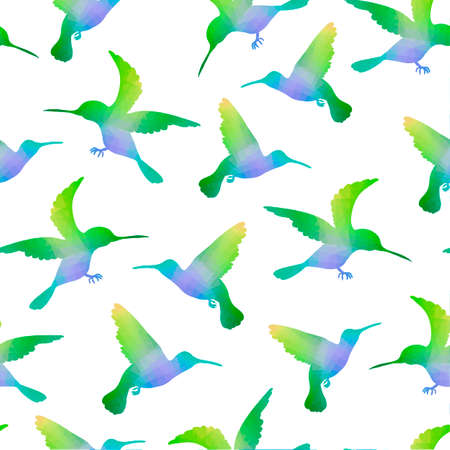 Seamless Nature Background with Hummingbirds Vector